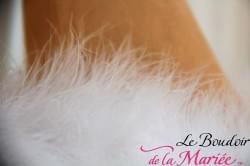 Cape de mariée en plumes véritables
