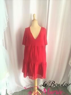 """Robe de cocktail rouge passion """"Elise Hameau"""""""