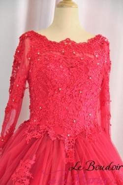 robe de mariée soirée rouge dentelles
